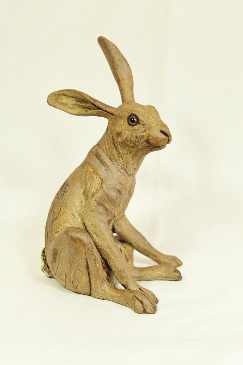 medium Sitting Hare, brown, 20cm hg x 12.5 wide