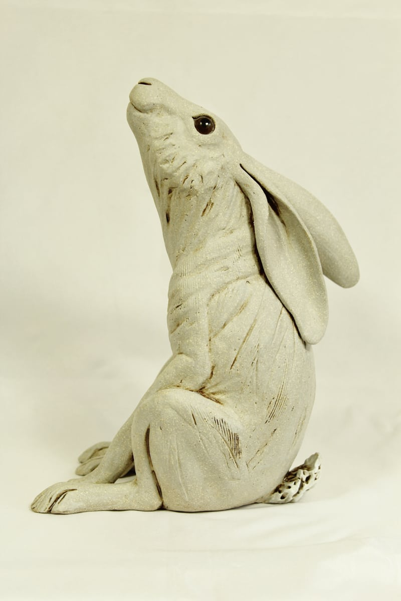 Large Stargazing Hare, White. 25cm hg x 16 cm wide