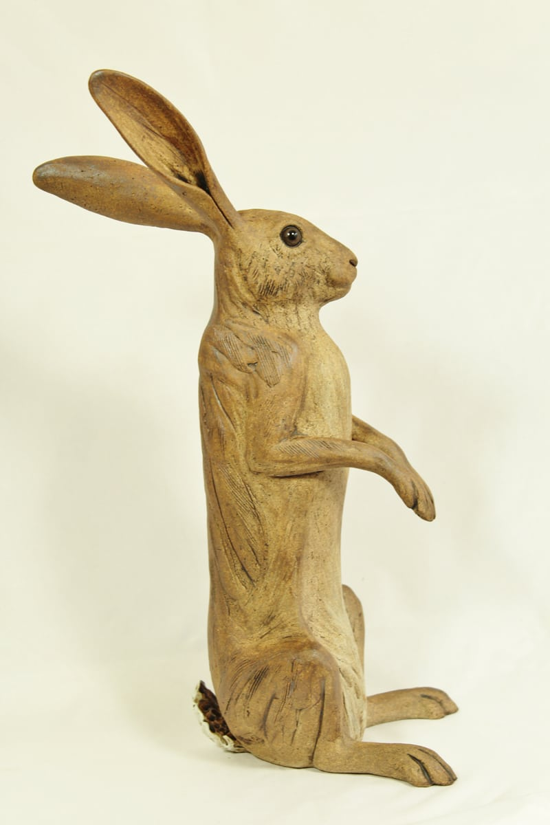 Large Upright hare, brown 38cm hg x 16cm wide