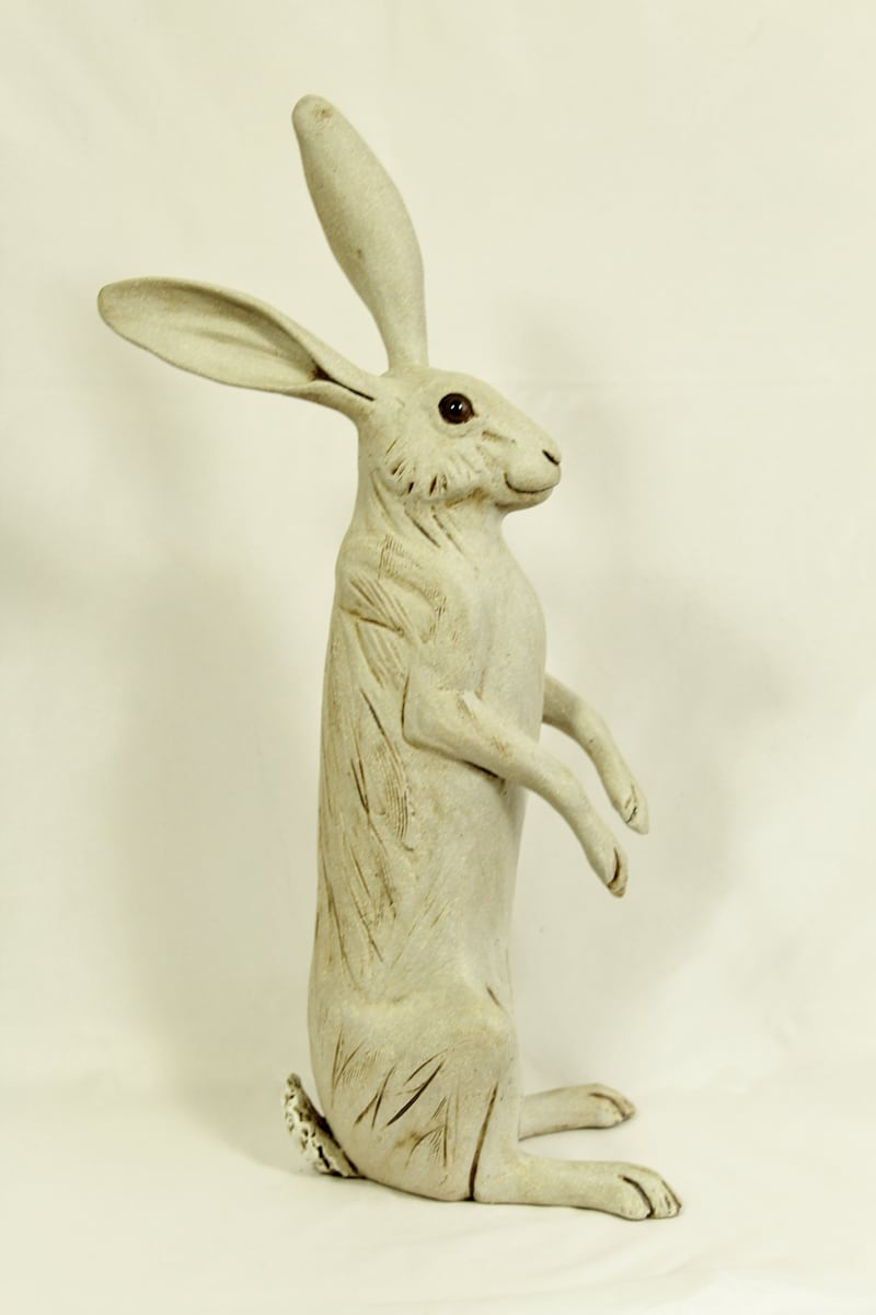 Large Upright white hare, 38cm hg x 16cm wide