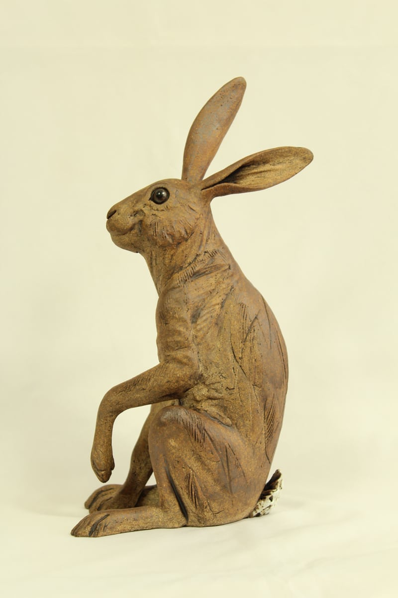 Medium Hare, brown, one leg raised 25cm high x 12.5cm wide