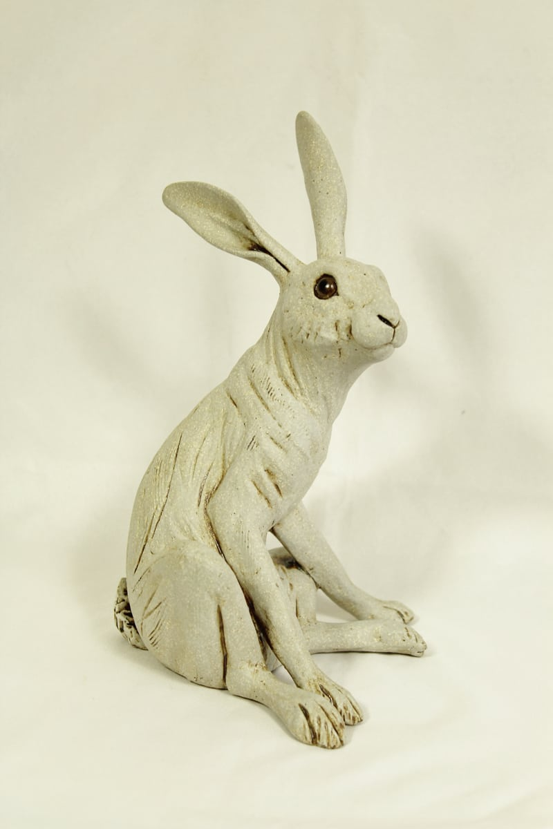Medium Sitting Hare, White, 20cm hg x 12.5 wide
