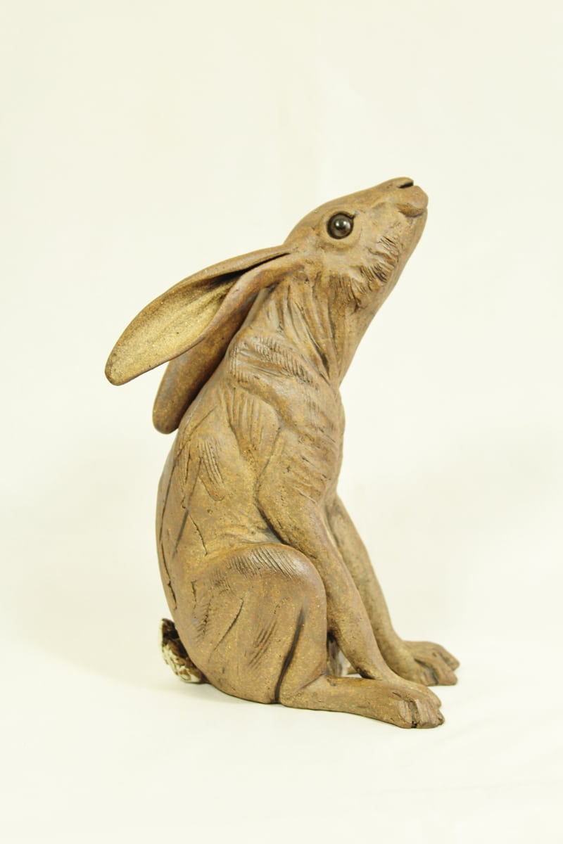 Medium Stargazing Hare, brown, 19cm hg x 11cm wide, side view