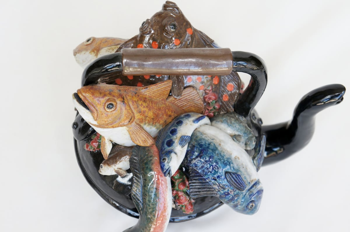 Kettle Of Fish ~ Ceramic kettle of fish sculpture pippa hill animal