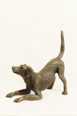 bronze resin Playful Dog, large - SKU DOG-001