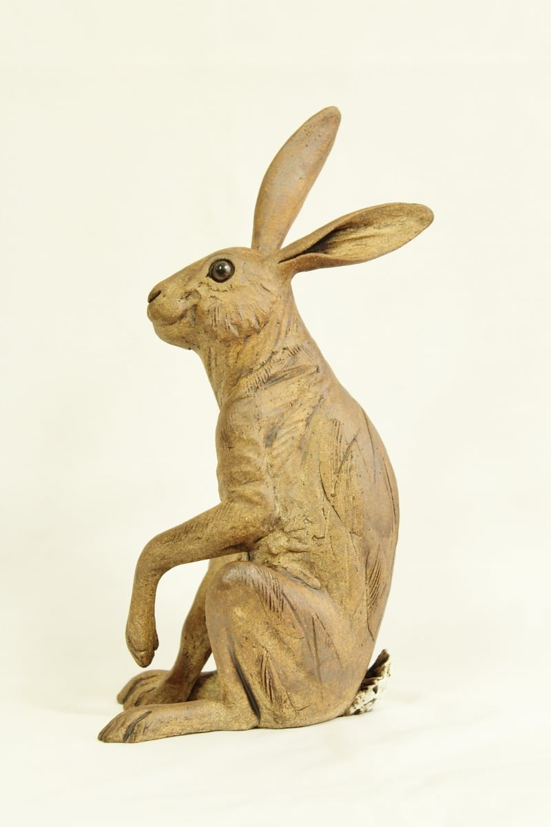 ceramics hares Medium Hare, brown, one leg raised 25cm high x 12.5cm wide (800x1200)