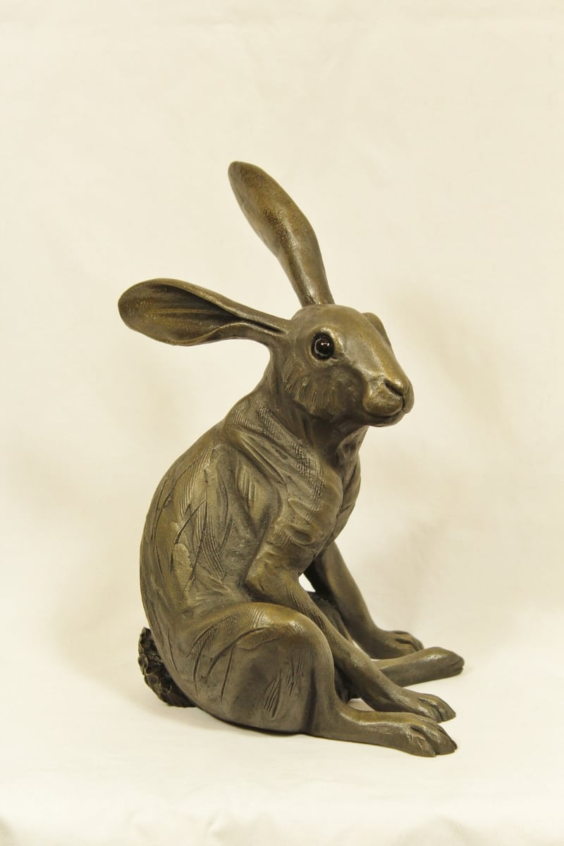 bronze resin Startled Hare sitting, large - HARE-005