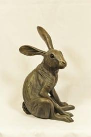 bronze resin Startled Hare sitting, large - HARE-005