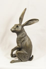 bronze resin Hare listening - HARE-003