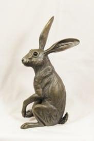 bronze resin Hare listening - HARE-003