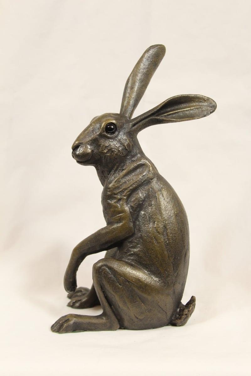bronze resin Listening Hare, medium ( medium )