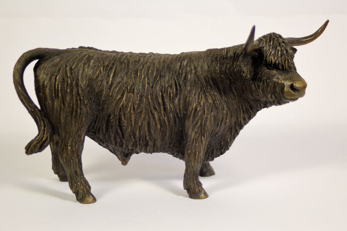 bronze resin Highland Bull sculpture