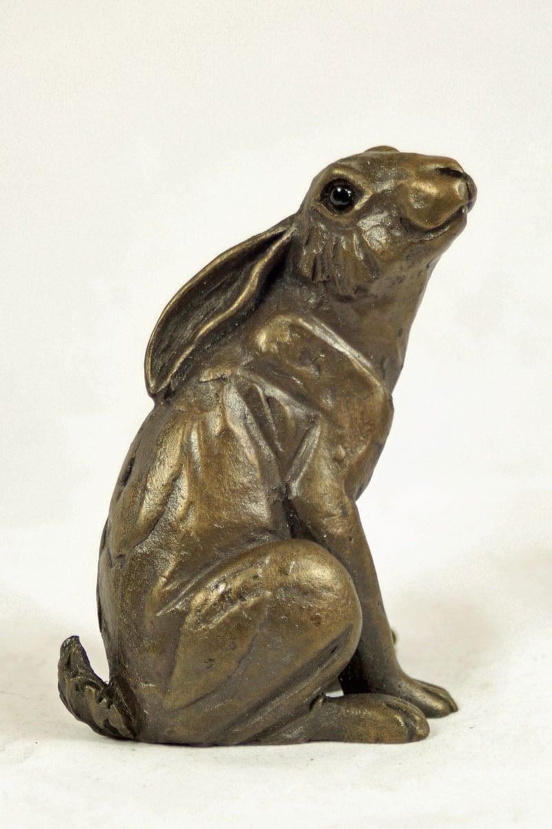 bronze resin Stargazy Hare, 7 x 9cm, HARE-032