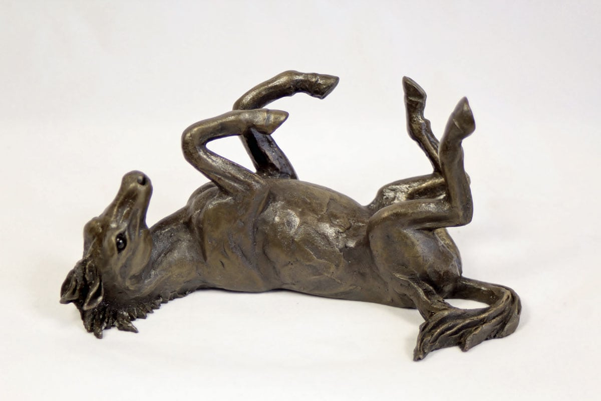 bronze resin Horse rolling on its back