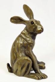 bronze resin Startled Hare - 035
