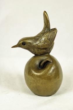 bronze resin Wren on apple