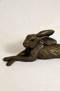 bronze resin Lying Hare - small