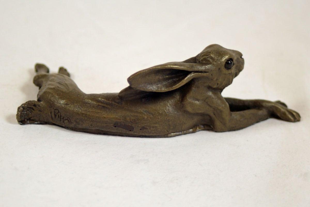 bronze resin Lying Hare - small