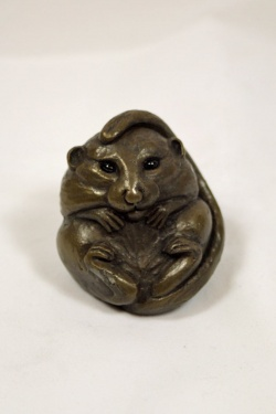 bronze resin Dormouse with open eyes