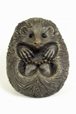 bronze resin Curled Hedgehog, large