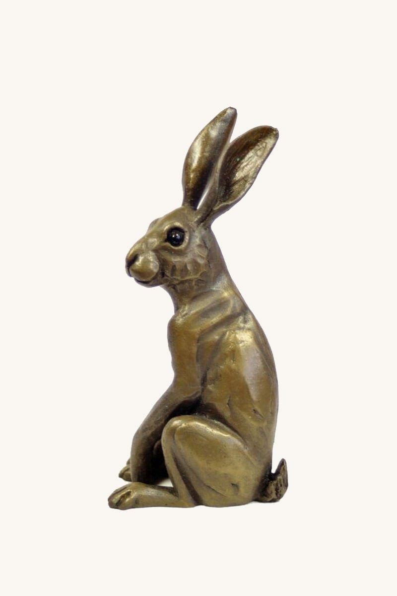bronze resin Hare Sitting Upright