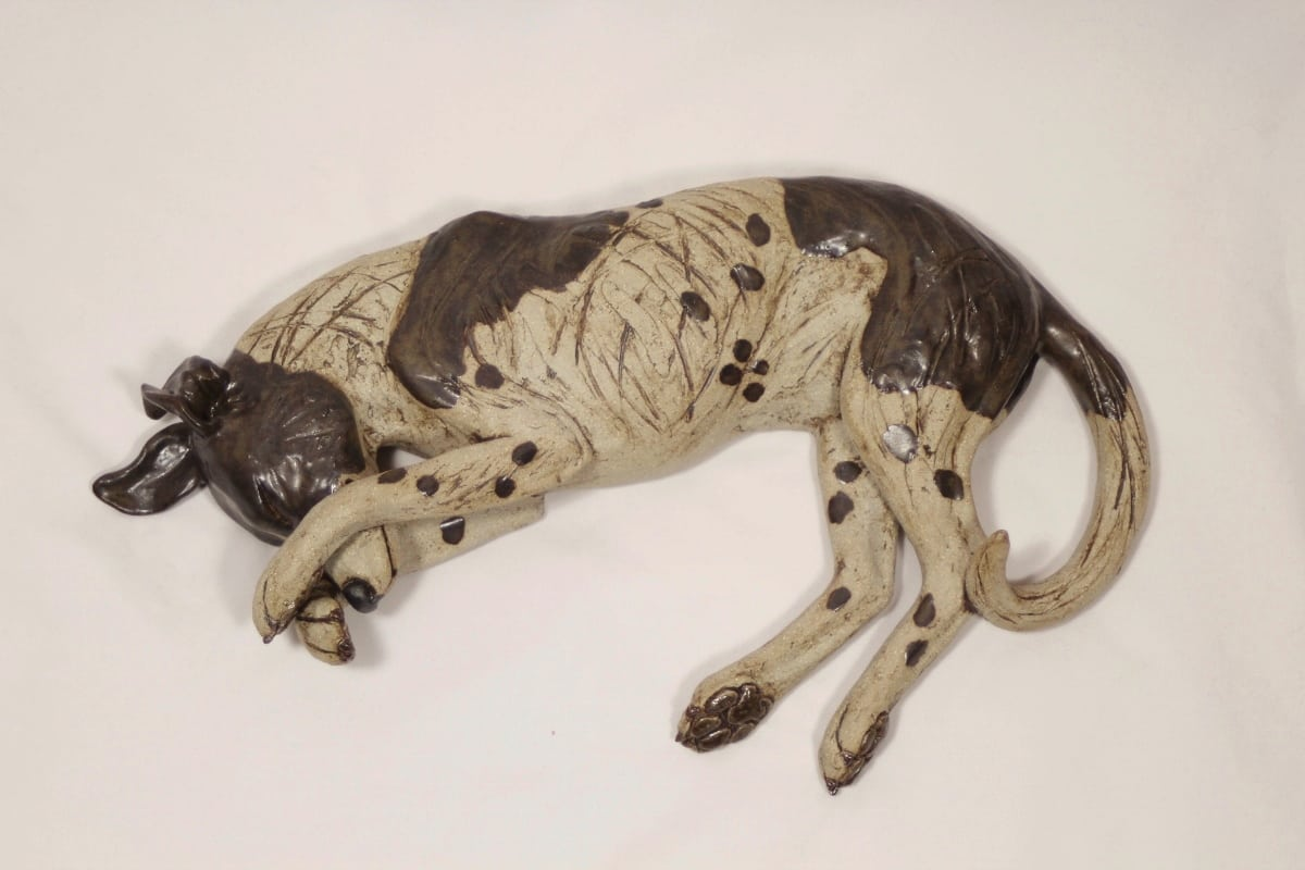 Sleeping Dog with his paws over his eyes - ceramic clay sculpture