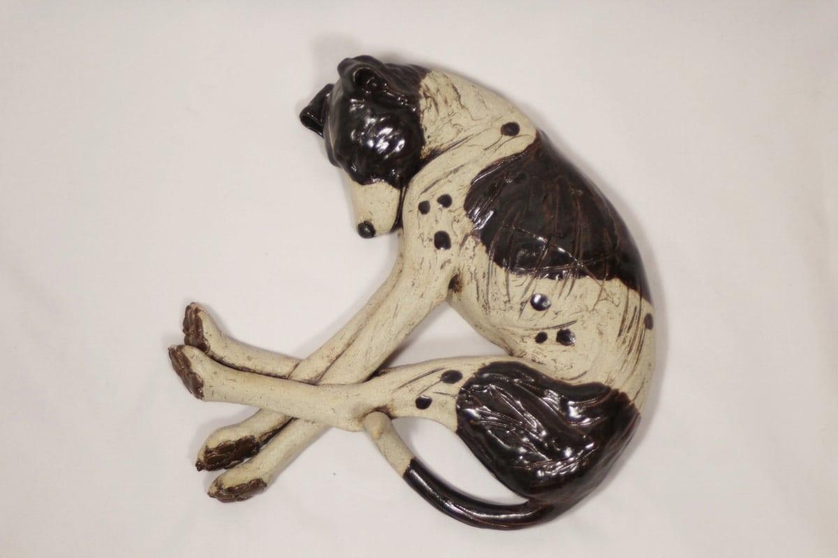 Sleeping Dog – 'Long Legs' - ceramic clay sculpture