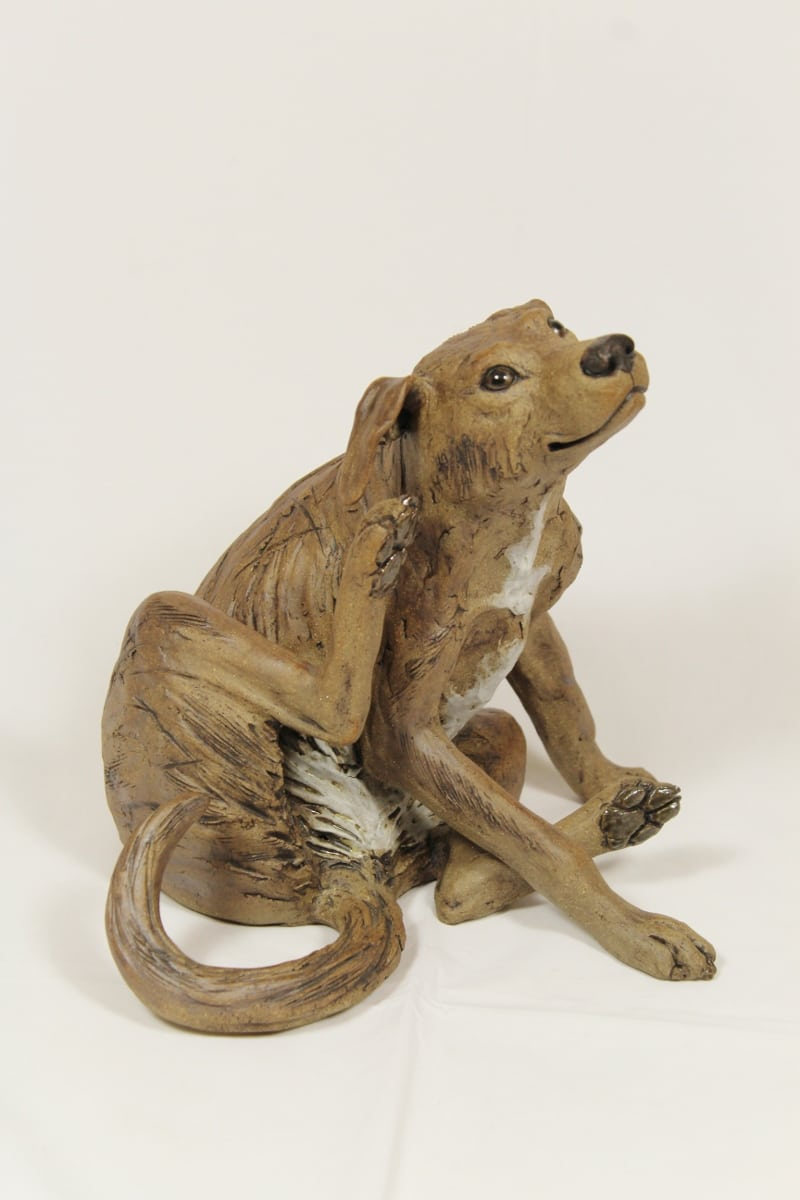 clay dog sculpture
