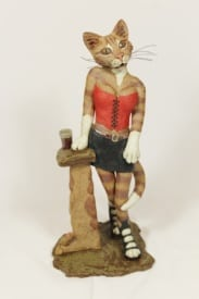 Kitty in the Red Corset - ceramic clay sculpture