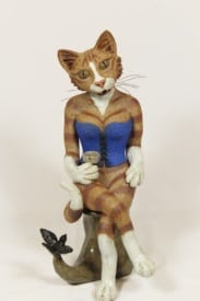 Tabbytha in the Blue Corset - ceramic clay sculpture