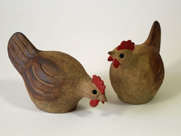 A Pair of Naive Stoneware Chickens