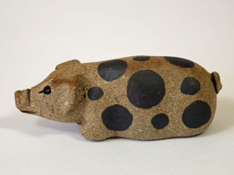 A Small Spotty Stoneware Pig