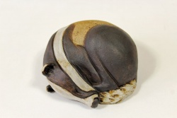 Curled up Badger - ceramic clay sculpture