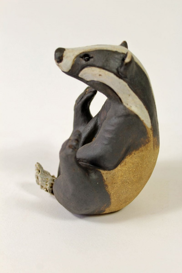 Badger, Scratching his tummy, small - ceramic clay sculpture