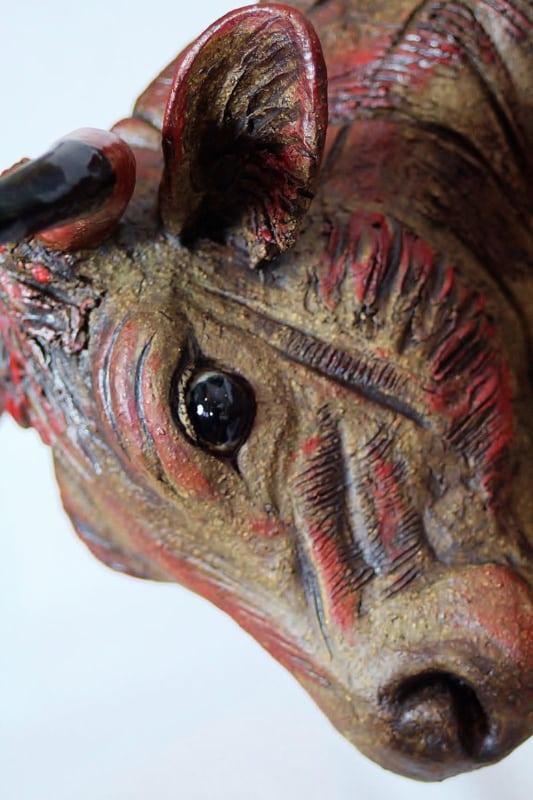 Red Bull - ceramic clay sculpture