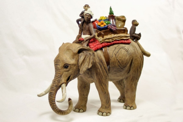 Elephant, Mahout and Howdah - ceramic clay sculpture