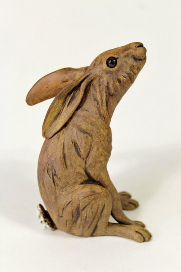 Moongazing Hare - ceramic clay sculpture
