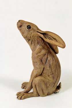 Moongazing Hare - ceramic clay sculpture