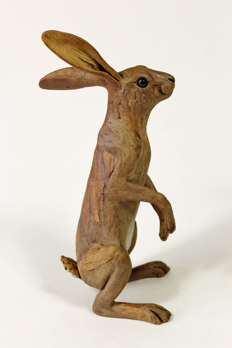 An Inquisitive Hare - ceramic clay sculpture