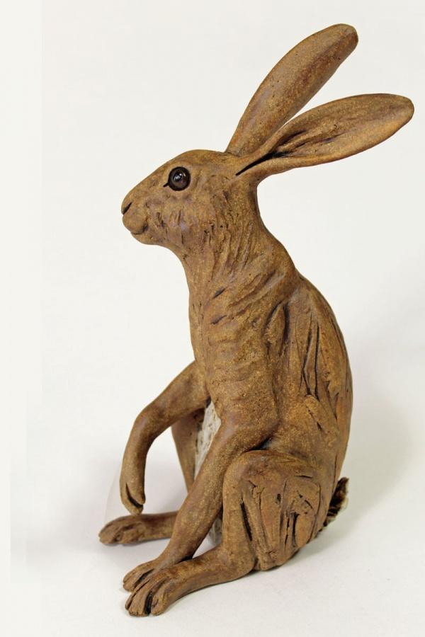 Listening Hare - ceramic clay sculpture