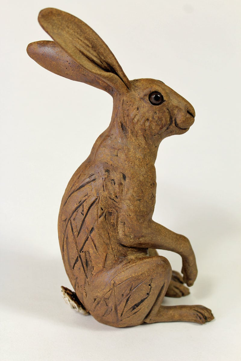 Listening Hare - ceramic clay sculpture