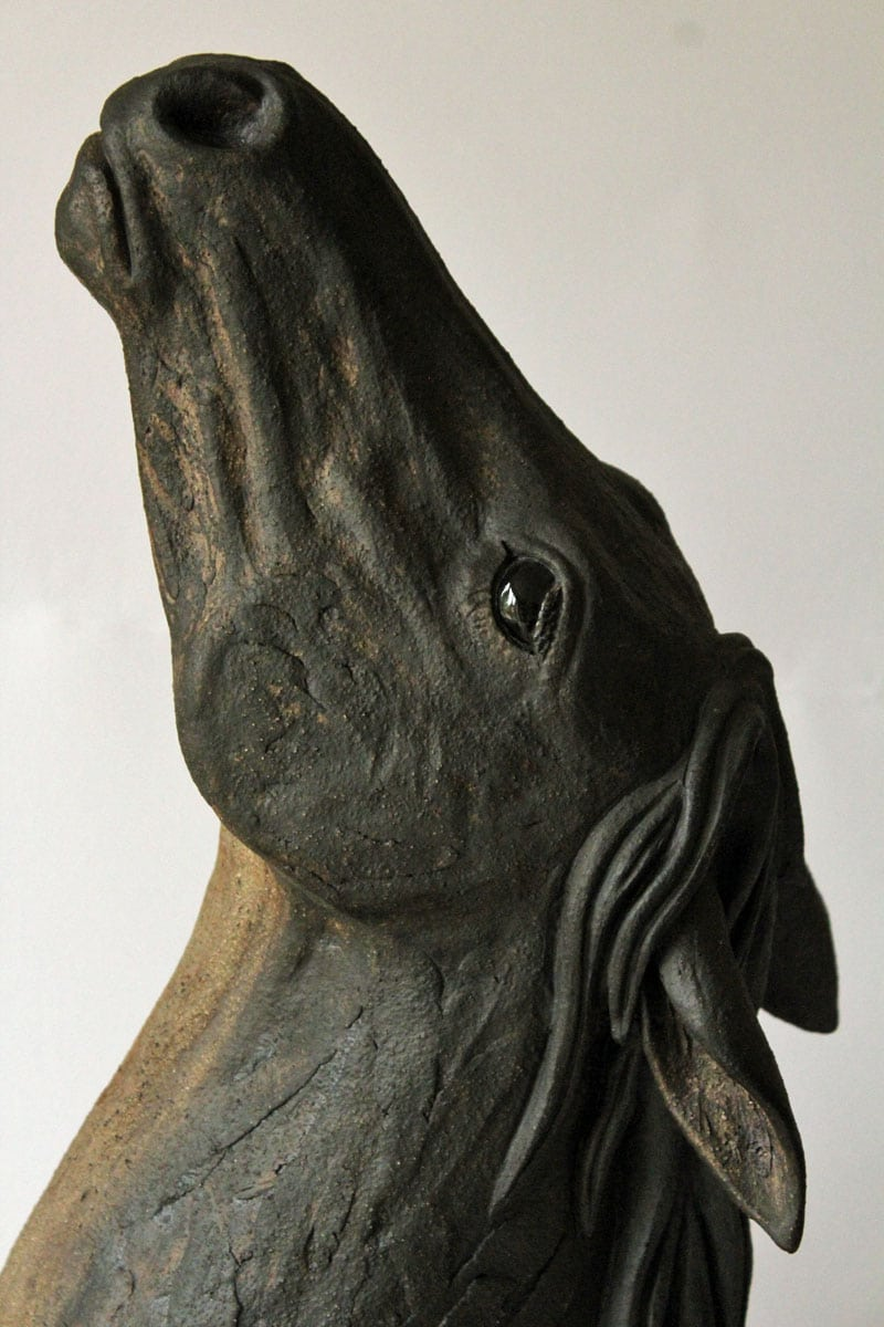 Horses head black - ceramic clay sculpture