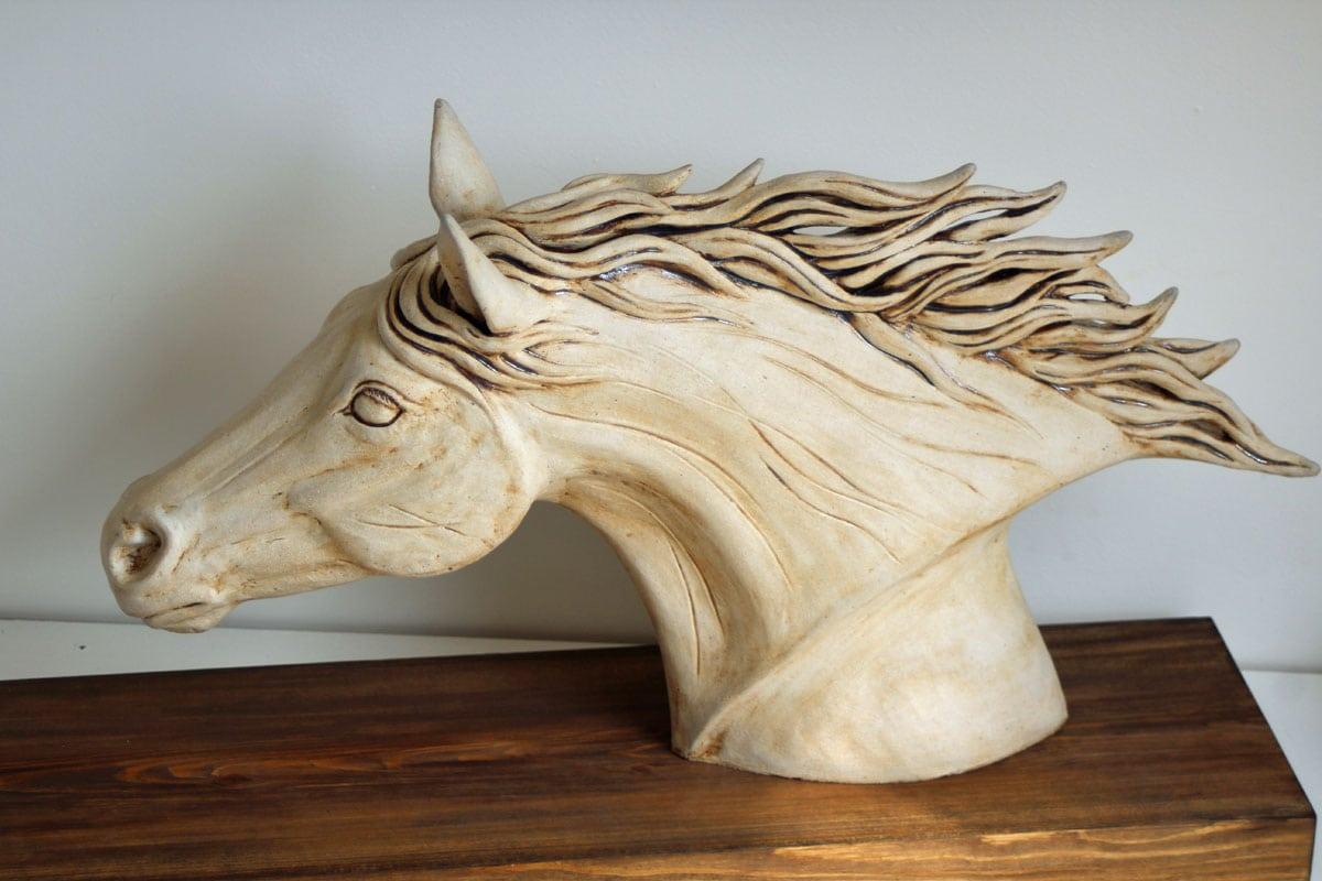 Horses head white - ceramic clay sculpture