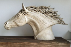 Horses head white - ceramic clay sculpture