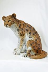 Leopard sitting - ceramic clay sculpture
