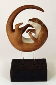 Otter, In a Spin, large - ceramic clay sculpture