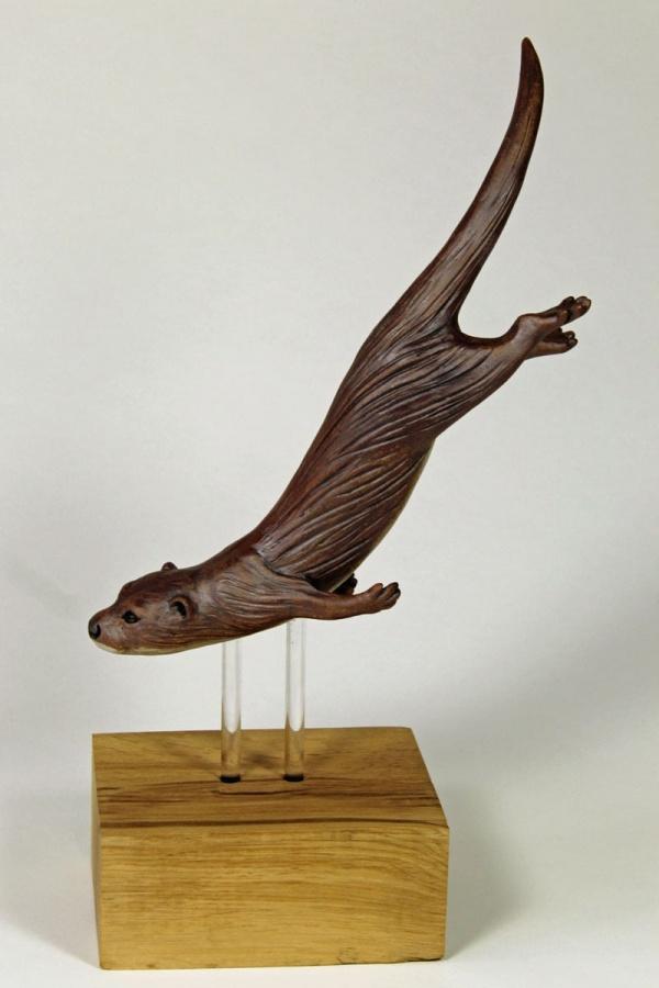 Otter Diving for Fish, medium - ceramic clay sculpture