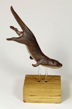 Otter Diving for Fish, medium - ceramic clay sculpture