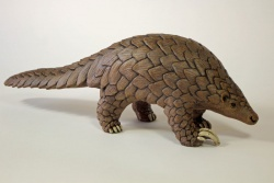 Walking Pangolin - ceramic clay sculpture