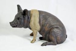 A Saddleback Pig - ceramic clay sculpture